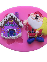 1Pcs DIY Cake Mould Santa Claus And Christmas House Mould  For Make  Chocolate Or Cake High Quality  10.5Cm*7.4Cm*1.3Cm