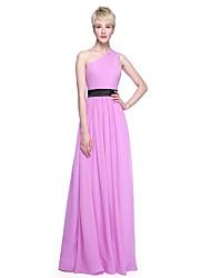 LAN TING BRIDE Floor-length One Shoulder Bridesmaid Dress - Elegant Sleeveless Chiffon