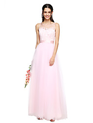 Lanting Bride® Floor-length Tulle See Through Bridesmaid Dress - A-line Jewel with Appliques Sash / Ribbon Ruching