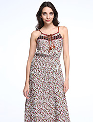 Women's Boho Beach Boho Loose Dress,Paisley Strap Midi Sleeveless Red Cotton Summer