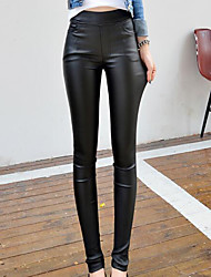 Sign # 2016 new autumn and winter 3731 fashion Western style waist Slim pencil leather pants female