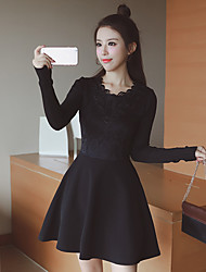 Sign Winter new Korean temperament Slim bottoming knit skirt and long sections woolen dress women
