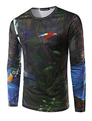 Herren Druck Einfach Ausgehen T-shirt,Rundhalsausschnitt Herbst Langarm Schwarz Modal Mittel