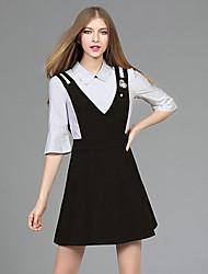Set Jupe Costumes Femme,Couleur Pleine Décontracté / Quotidien simple Automne Manches ¾ Col de Chemise Noir Polyester Spandex Moyen
