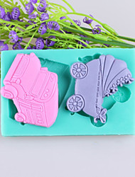 Car And Baby Carriages Fondant Cake Chocolate Silicone Molds,Decoration Tools Bakeware