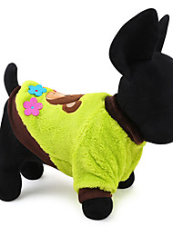 Dog Sweater Yellow Green Dog Clothes Winter Spring/Fall Animal Casual/Daily Keep Warm