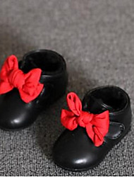 Girl's Baby Boots Comfort Leatherette Casual Black Red