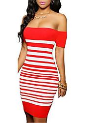 Mujer Corte Bodycon Vestido Casual/Diario Simple,A Rayas Escote Barco Mini Manga Corta Rojo Poliéster Primavera / Otoño Tiro Medio