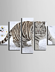 E-HOME® Tiger in The Snow Clock in Canvas 5pcs