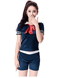 Cheering Squad Japan School Uniform Dress Sailor Girl Lady Lolita Costumes Solid Top / Shorts