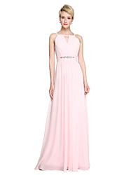 2017 Lanting Bride® Floor-length Chiffon Open Back Elegant Bridesmaid Dress - Sheath / Column Spaghetti Straps with Beading Ruching Pleats