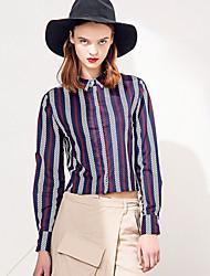 Damen Gestreift Street Schick Lässig/Alltäglich Hemd,Hemdkragen Winter Langarm Weiß Lila Baumwolle Polyester Mittel