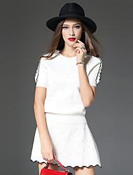 Set Jupe Costumes Femme,Couleur Pleine Décontracté / Quotidien simple Automne / Hiver Manches ¾ Col Arrondi Blanc Acrylique / Polyester