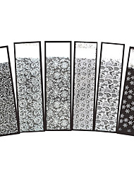 6pcs Christmas Nail Art Polish Transfer Sticker White Flower Lace Snowflake Manicures Tool