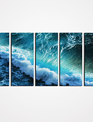 Unframed Ocean Wave Painting Seascape Picture Print on Canvas Modern Wall Art  for Home Decoration 25x60cmx5pcs
