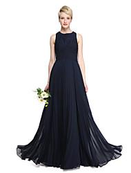 2017 Lanting Bride® Floor-length Chiffon Elegant Bridesmaid Dress - A-line Jewel with Criss Cross Pleats