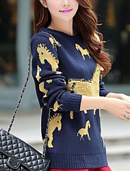 Women's Casual/Daily Simple / Cute Regular PulloverAnimal Print Round Neck Long Sleeve Polyester Fall / Winter