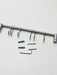 Movable 6-Hook of Robe Hooks- Silver