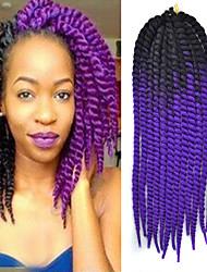 Preto ombre violeta havana crochet torção tranças extensões de cabelo 22 kanekalon 2 vertente 120g gram cabelo tranças