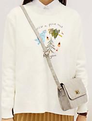 Damen Standard Pullover-Lässig/Alltäglich Einfach Druck Weiß Grün Gelb Rundhalsausschnitt Langarm Kunst-Pelz Herbst Winter Mittel