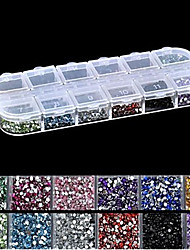 2500PCS 2MM Round 12-in-1 Acrylic Rhinestone Nail Art Decoration