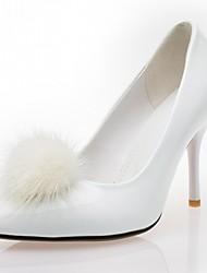 Women's Heels Spring Fall Comfort Leatherette Office & Career Dress Casual Stiletto Heel Pom-pom Black White