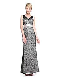 LAN TING BRIDE Floor-length V-neck Bridesmaid Dress - See Through Sleeveless Lace