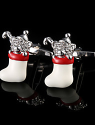 Christmas Socks Bear Cufflinks Christmas Interesting Modeling French Men's Sleeves Man Acc Gifts With Gift Box