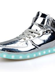 Herren-Sneaker-Lässig-PU-Flacher Absatz-Komfort Light Up Schuhe-Rot Silber Gold