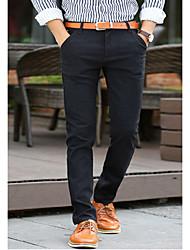 Hommes Petites Tailles Droite Entreprise Pantalon,simple Décontracté / Quotidien Couleur Pleine Paillettes Taille Normale fermeture Éclair
