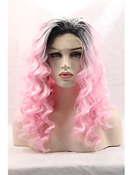 Synthetic Lace Front Wigs Black Roots Pink Hair Ombre Loose Wave Synthetic Wig Cosplay Wig