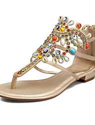 Women's Sandals Spring Summer Fall Cowhide Wedding Casual Party & Evening Low Heel Crystal Pearl Blue Rose Gold