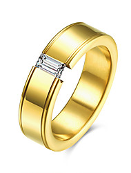 Ringe Kubikzirkonia Normal Schmuck Stahl Herren Ring 1 Stück,7 8 9 10 Goldfarben