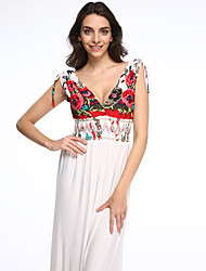Women's Beach / Plus Size Boho Swing Dress,Print Deep V Maxi Sleeveless White Polyester Summer