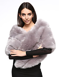 Women's Casual/Daily Simple Fur Coat,Solid V Neck ½ Length Sleeve Winter Pink / White / Gray / Purple Fox Fur