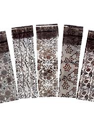 5pcs Black Flower Lace Nail Transfer Sticker Women Polish Manicures Tool Nail Art Decal