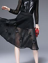 Damen Röcke,Schaukel einfarbig Spitze,Lässig/Alltäglich Einfach Hohe Hüfthöhe Midi Elastizität Polyester Micro-elastisch Herbst