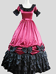 Une Pièce/Robes Gothique Victorien Cosplay Vêtements de Lolita Rouge Couleur Pleine Manches courtes Cheville Robe Pour FemmeSatin de