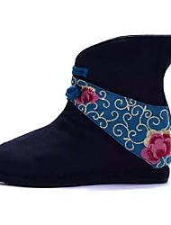 Women's Boots Spring / Winter Comfort Canvas Outdoor / Dress / Casual Low Heel Satin Flower / Flower Black / Blue / Red Walking