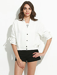 Women's Going out Street chic Fall JacketsSolid V Neck  Sleeve White / Black Cotton / Polyester Medium
