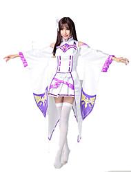 Emilia Cosplay Costumes Solid Top  / Skirt / Headwear