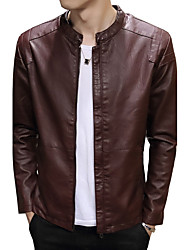Men's Plus Size Casual/Daily Work Vintage Simple Street chic Jackets,Solid Long Sleeve Spring Fall Red Black Brown PU Cotton Polyester