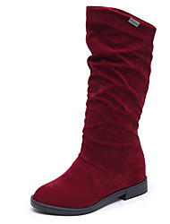 Черный Красный Кофе-Женский-Для прогулок Для праздника-Замша-На плоской подошве-Удобная обувь-Ботинки