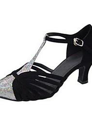 Customizable Women's Dance Shoes Sparkling Glitter Sparkling Glitter Latin Sandals Flared Heel Practice Beginner Outdoor Black Almond