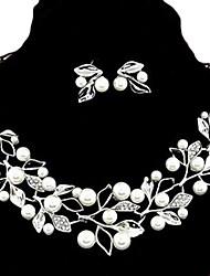estilo europeu de moda de metal strass pérola folhagem personalidade e temperamento brincos& conjunto de colar