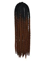 Preto ombre marrom escuro havana crochet torção tranças extensões de cabelo 22 kanekalon 2 vertente grampo 120g tranças