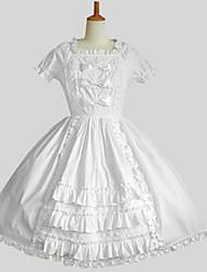 Uma-Peça/Vestidos Doce Princesa Cosplay Vestidos Lolita Branco Cor Única Longuete Vestido Para Feminino Algodão