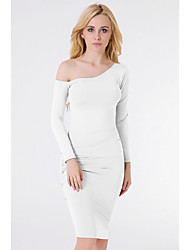 Women's Casual/Daily / Party Sexy Sheath Dress,Solid Square Neck Above Knee Long Sleeve White / Gray Polyester Spring / FallMid