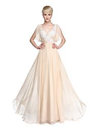 2017 Lanting Bride® Floor-length Chiffon Beautiful Back Bridesmaid Dress - A-line V-neck with Appliques