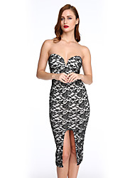 Women's Lace Strapless Padded Knee Length Party Dress